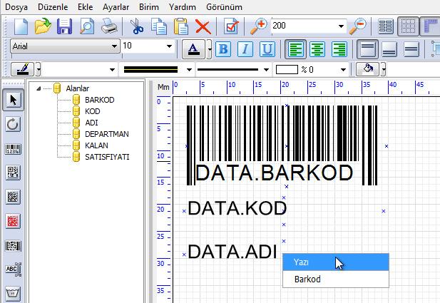 Barkod etiket pro ile excel, access veritabanlarından veri alma