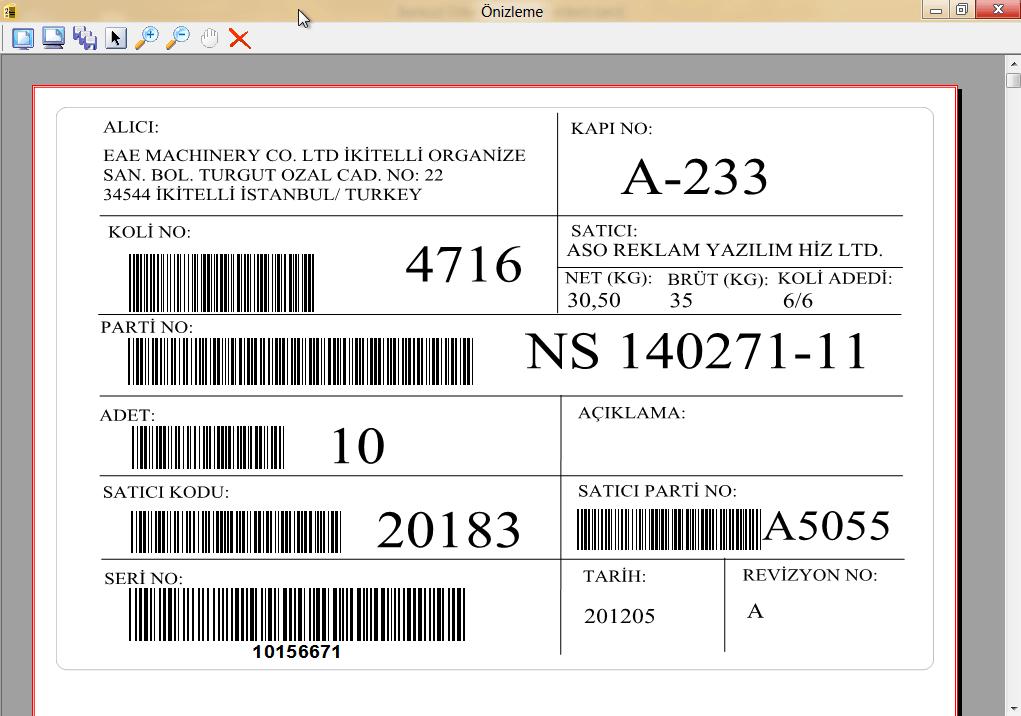 Barkod Etiket Programı Koli Etiketi Code 39