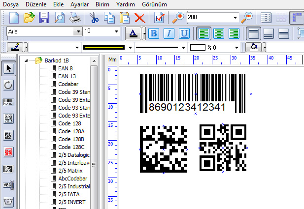 Barkod EAN13, CODE128, QR Barkod, Datamatrix Barkod, PDF417 Barkod ISBN, ISSN