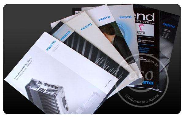 Katalog, dergi, bülten... Festo tasarımları ve baskıları.